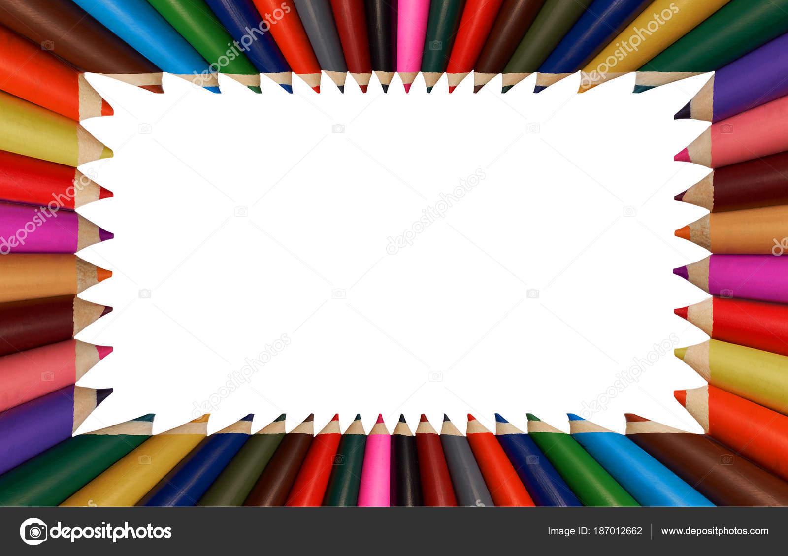 Aislado Marco Lápices Blanco Arco Iris Colores Para Aplicación ...