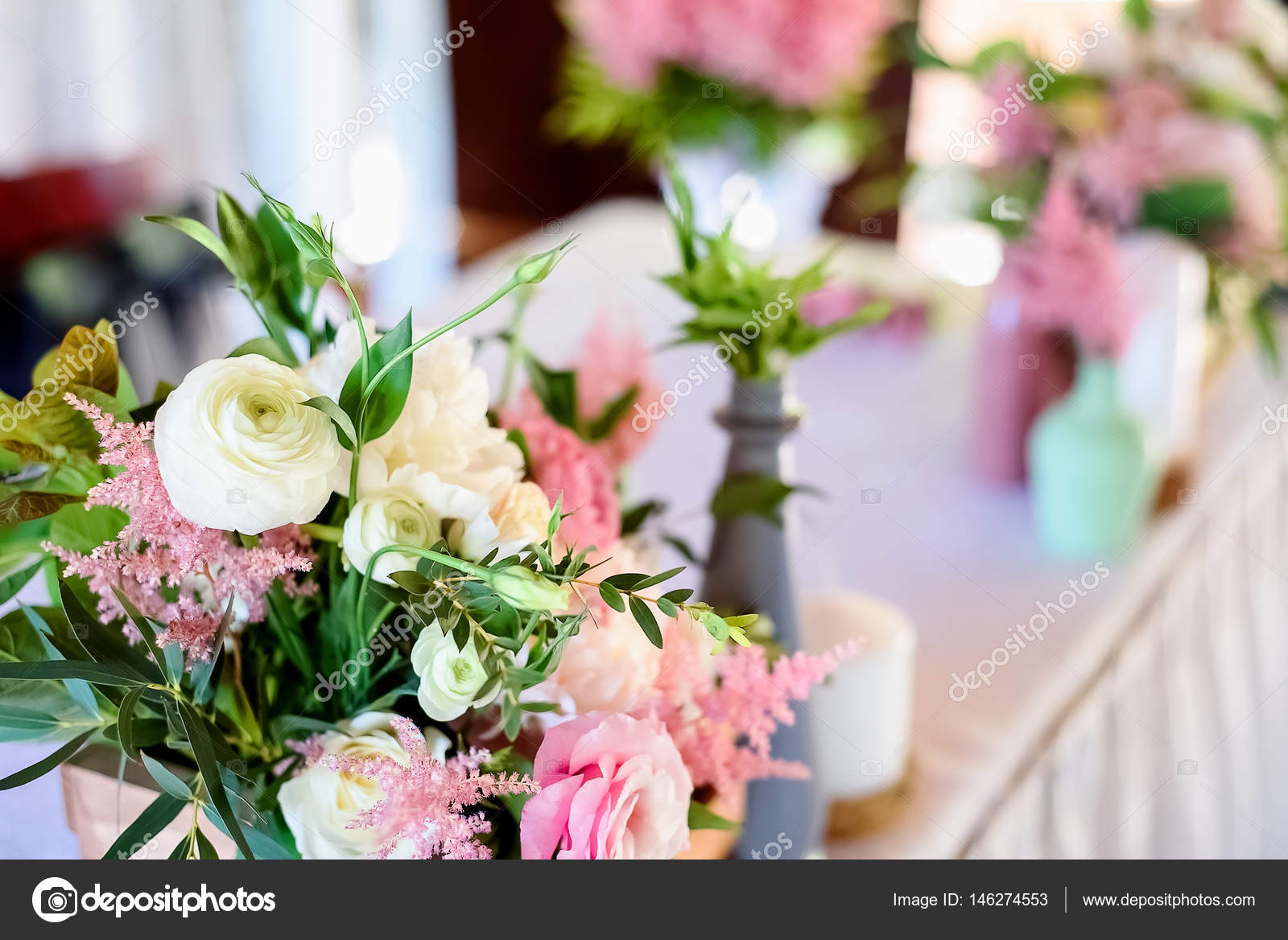 Wedding Decorations Wooden Pink Flowers Ribbons Stock Photo