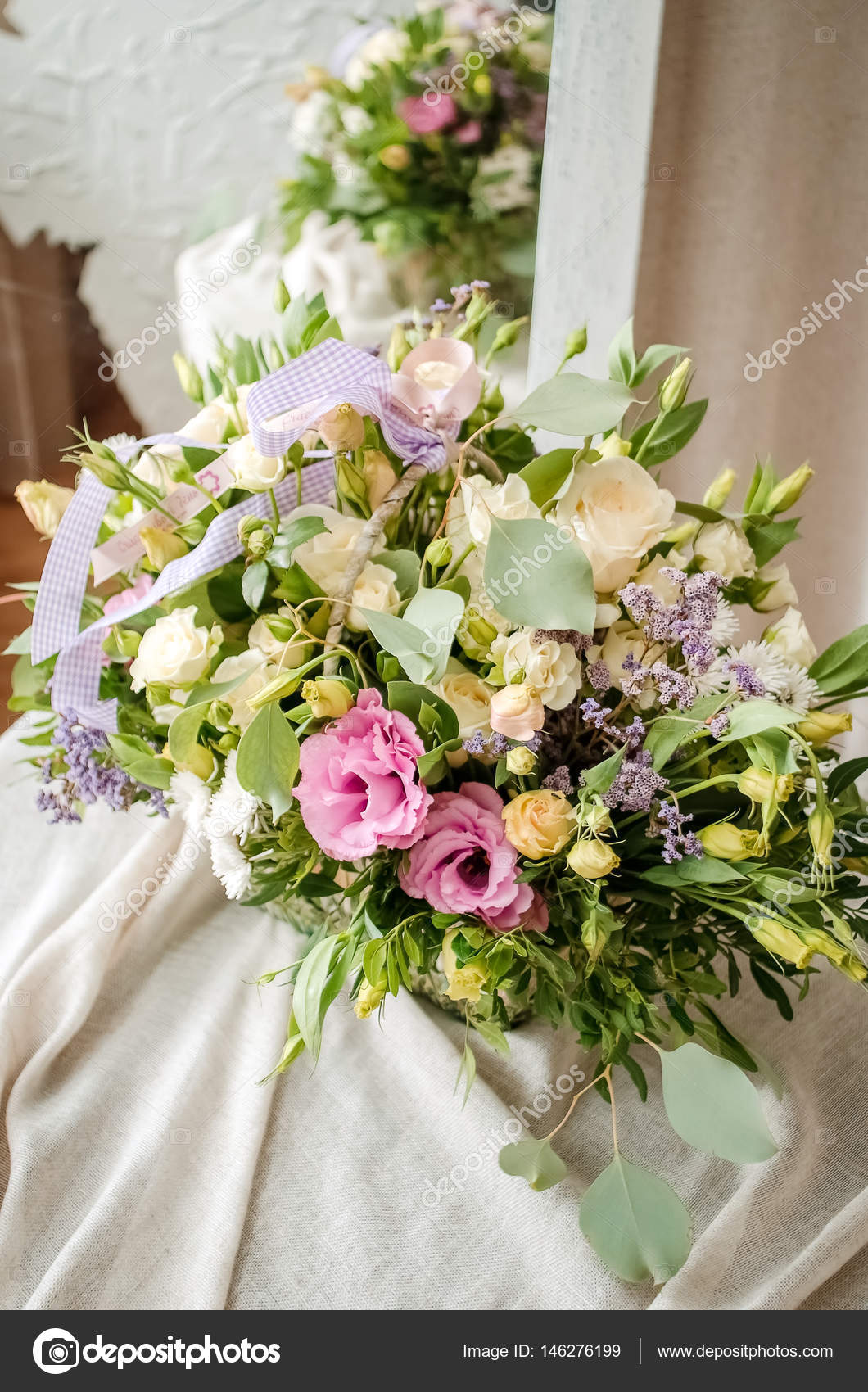 Wedding Bouquet Of Cream Roses On Canvas Cloth Texture Stock Photo