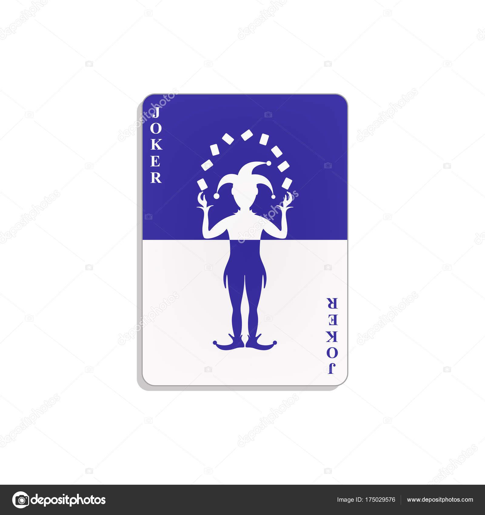 Kart Gry Joker Niebieski Bialy Design Cienia Bialym Tle Grafika