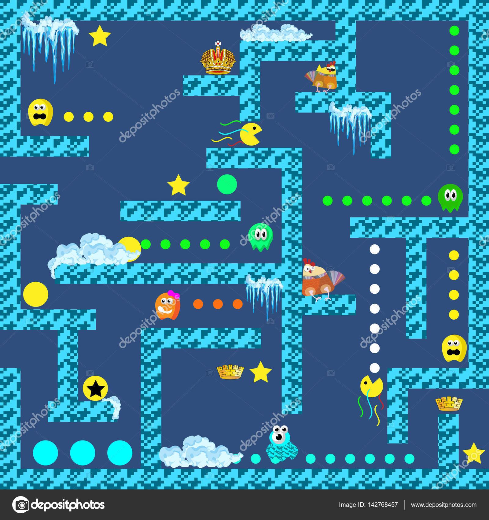 Juego De Arcade Retro De 8 Bit Pixel Vector De Stock C Executioner