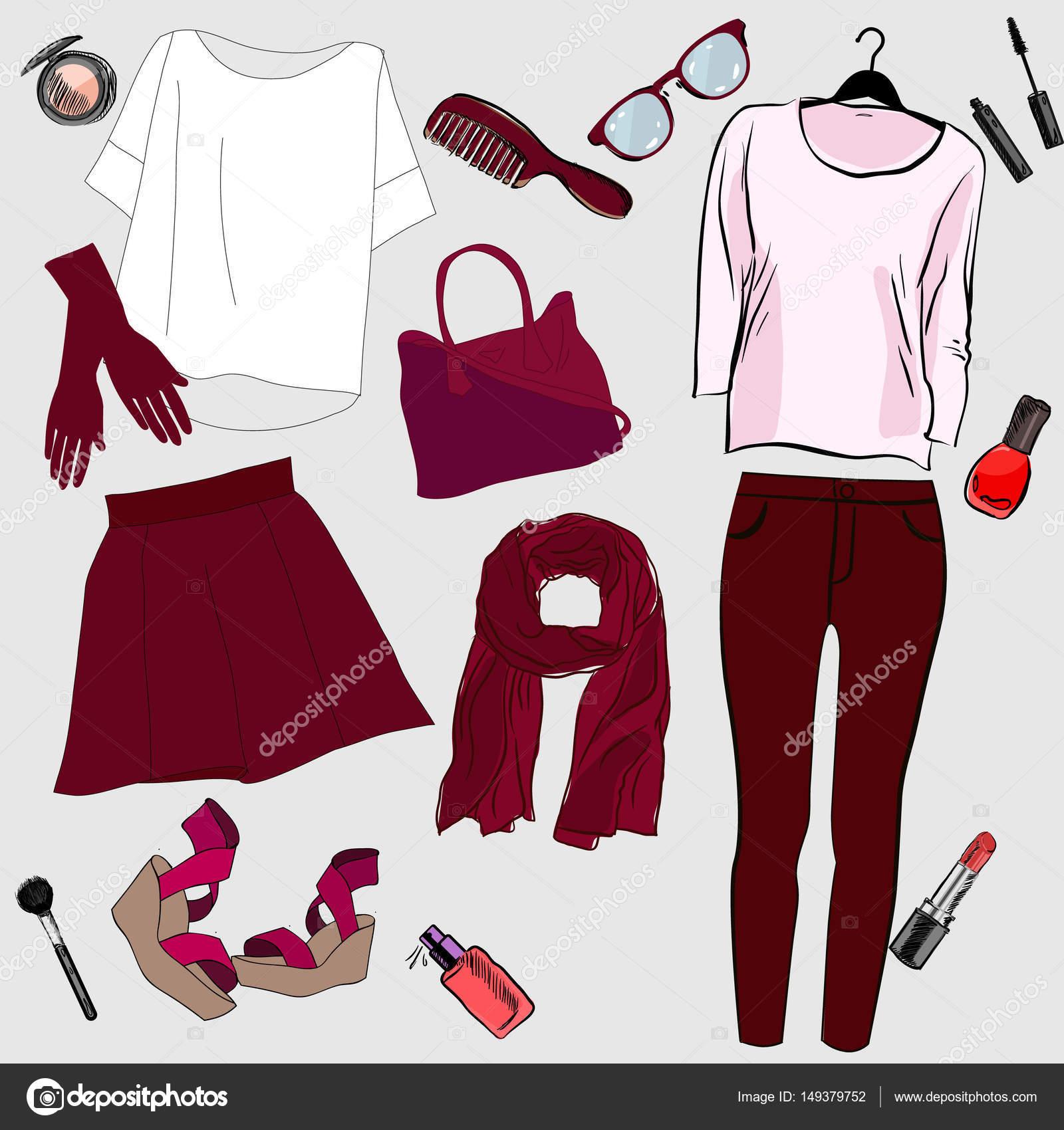 5e6e425f69a5 Set di vestiti alla moda delle donne. Vestito di giacca donna — Vettoriale  Stock