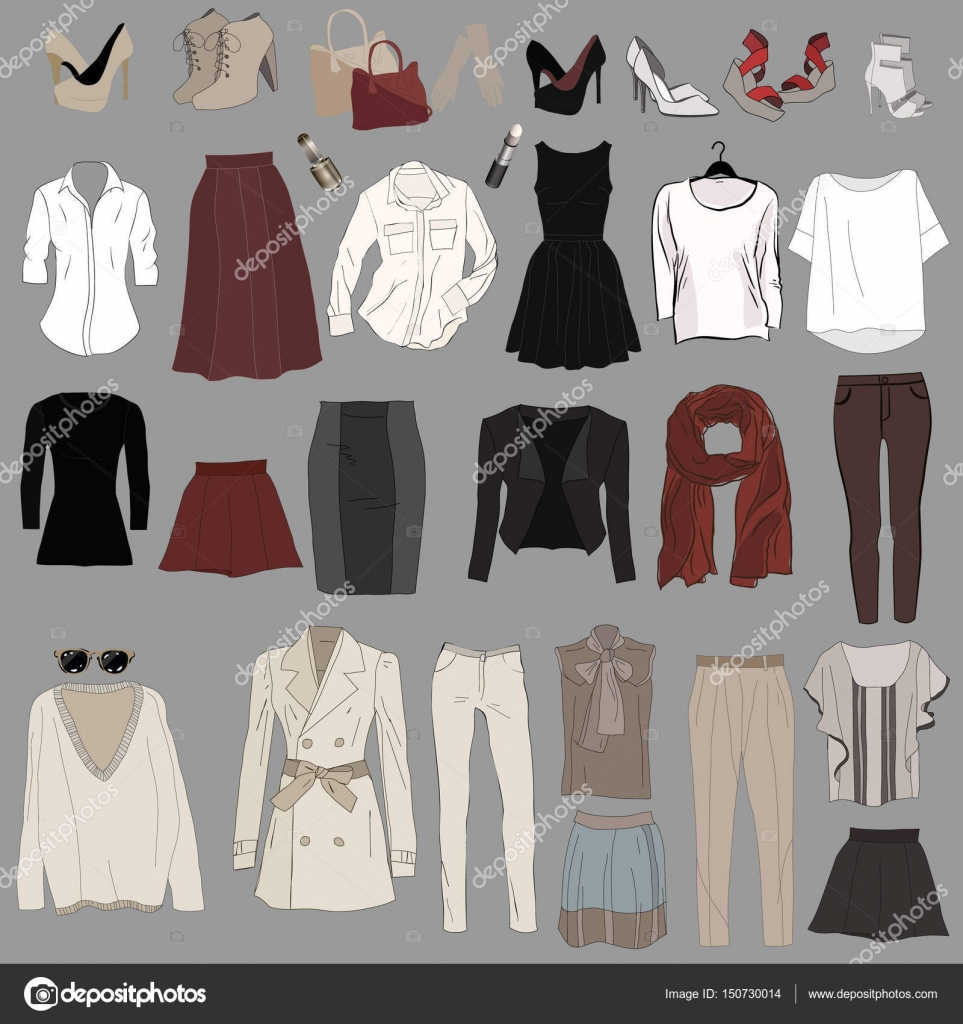 417e9e6ee4143 Set of trendy womens clothes. Outfit of woman jacket, — Stock Vector ...