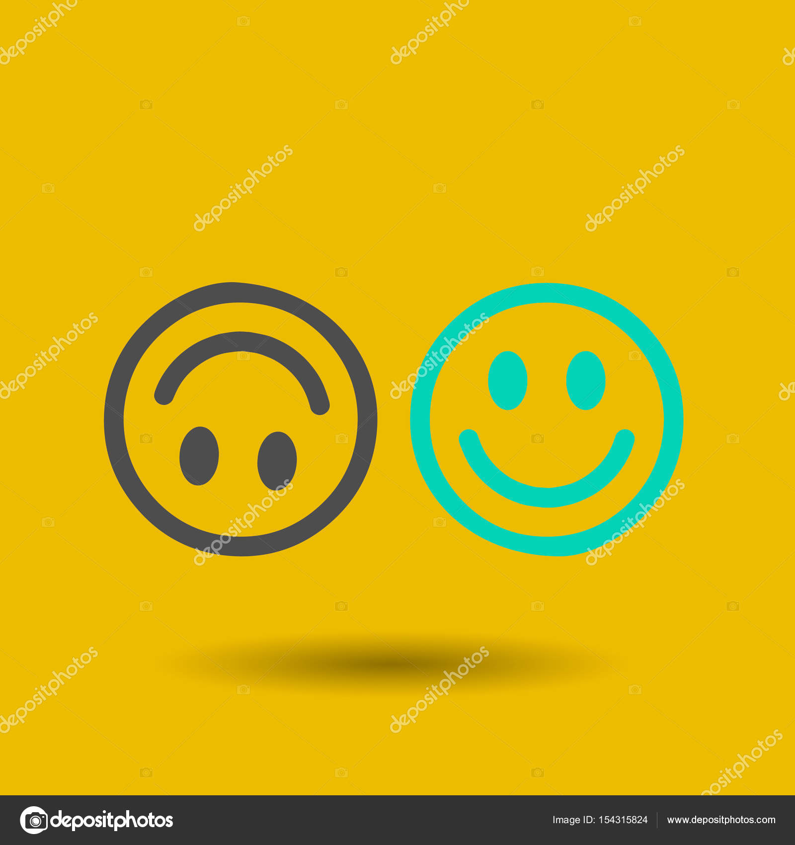 smile icon in trendy flat style isolated on grey background happy