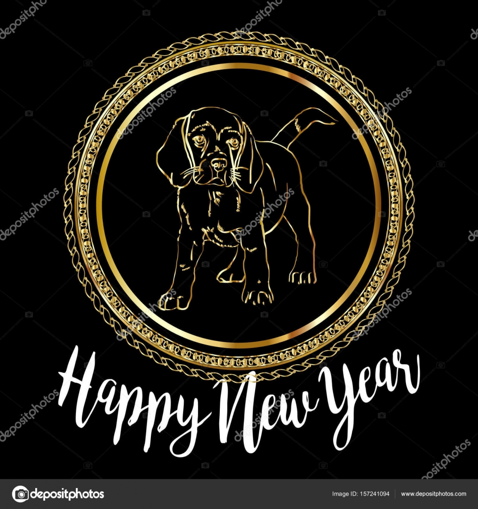 Chinese New Year 2018 Festive Vector Card Design With Cute Dog