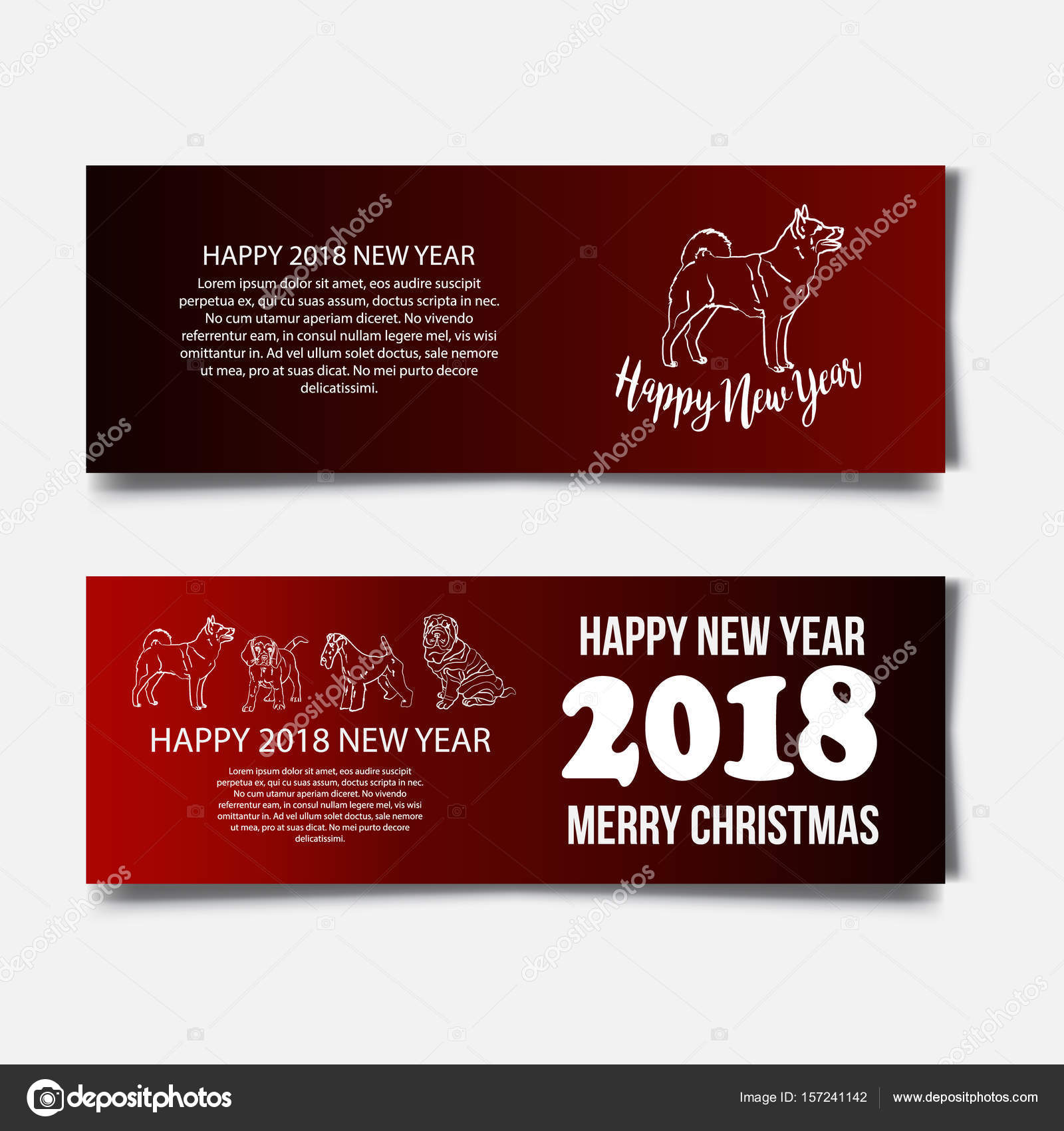 Chinese New Year 2018 festive vector card Design with cute dog ...