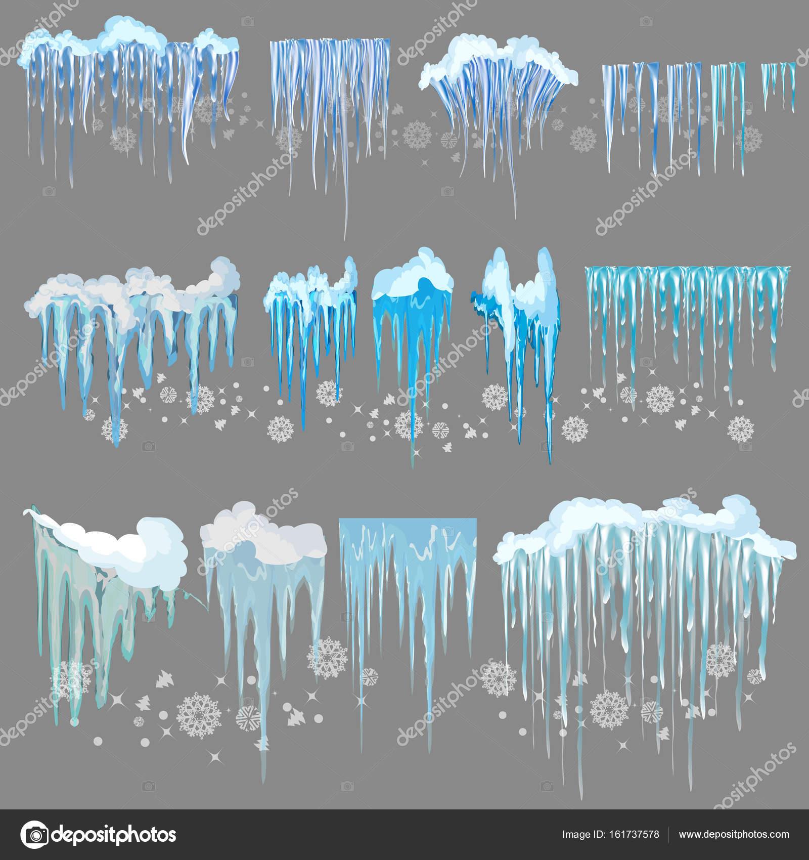 Vektor Eiszapfen Und Schnee Elemente Clipart Verschiedenen