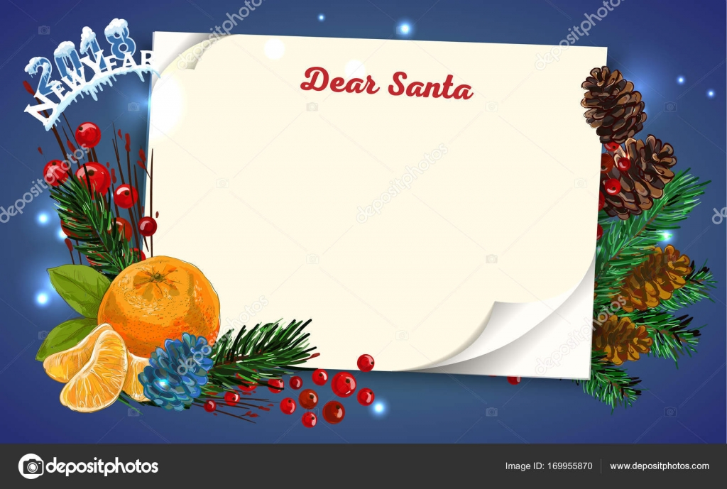 christmas letter from santa claus template new year wish list written on curl paper letter for santa claus vector by executioner 4