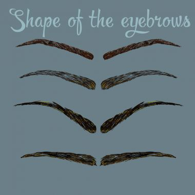 Female eyebrows in different shapes. Female eyes with different forms of eyebrows Vector eyebrows realistic and cartoon style.
