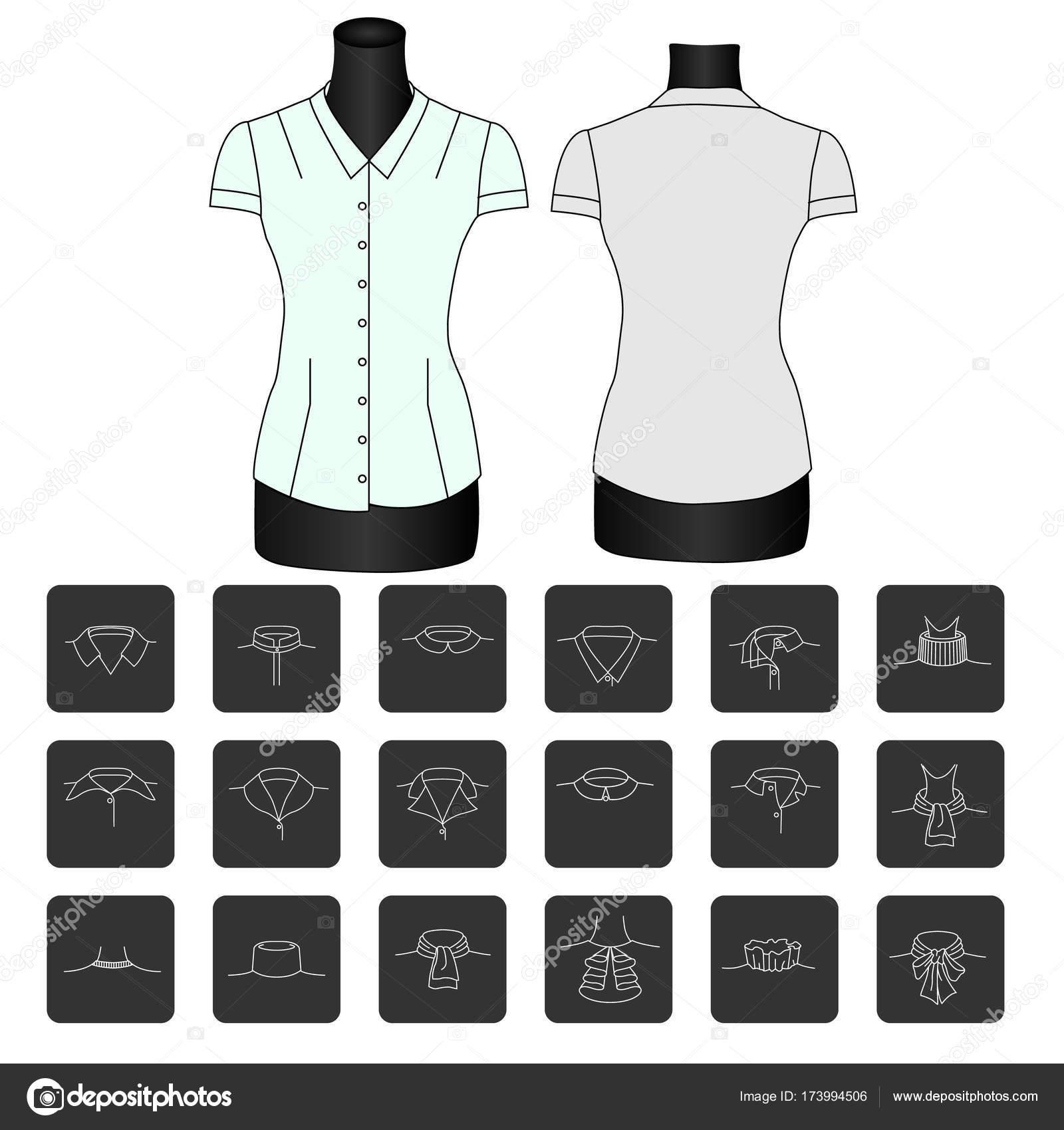 72b3413ebdbe Bosquejo de moda de la camisa collars.types de los collares de las mujeres.  cuello para camisa. cuellos para blusas de las mujeres. collar.