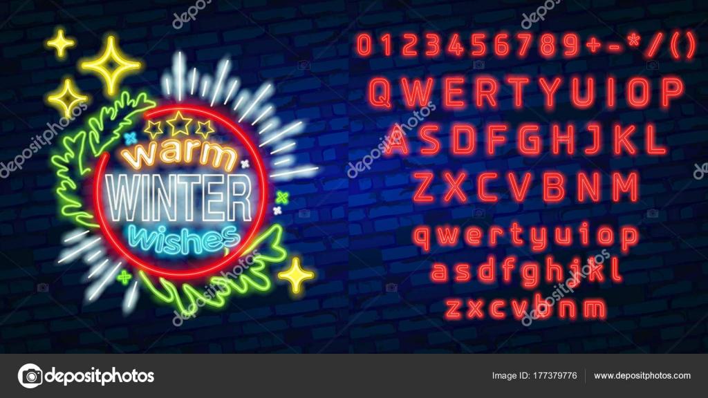 Logotipo de ano novo, o emblema e o rótulo. Criador do sinal de néon.  Editar texto de néon — Vetor de executioner-4