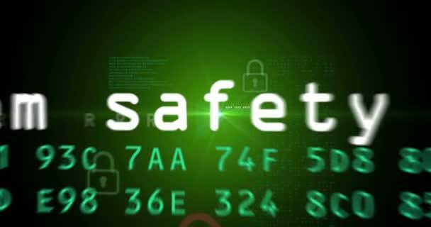 Loopable animace ochrany počítače, kybernetické bezpečnosti a zabezpečení internet. Pozadí abstraktní pojem soukromí v kyberprostoru