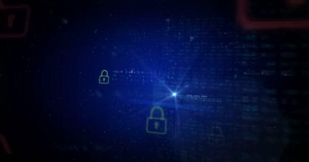 Concetto in loop animazione per attacco informatico, cyber crimine di furto e di internet. Astratto di una sicurezza nel cyber spazio