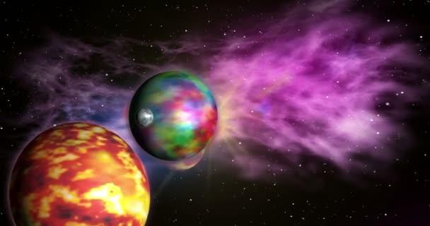 Let mezi exoplanet v vzdálené sluneční soustavy s mraky mlhovina v pozadí. Koncept plynulé animace z vesmíru