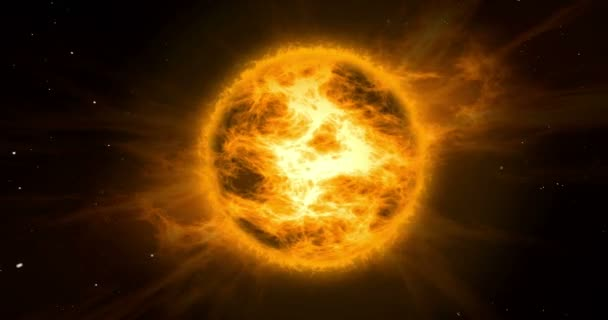 Solar storm in space. Concept animation of hot orange and yellow sun with energy explosion clouds with stars in background.