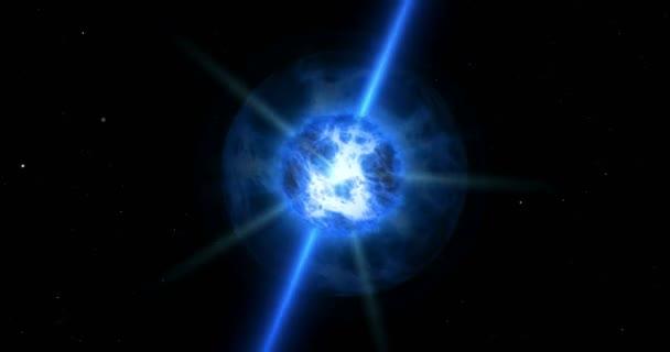 Modrá kvasar bouře v prostoru. Koncepce animace Star modré slunce s paprsky energie, plyn mraky a trysky