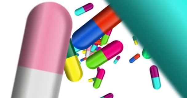 Medikamentenpillen, Tabletten und Farbkapseln fallen. Gesundheits-, Heil- und Apothekenkonzept.