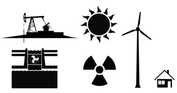 Elektrizität Produktion Und Energie Quelle Symbole Animation Konzept ...