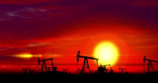Pojem ekologie zdroj zelené energie. Olejové čerpadla siluety pro větrnou turbínu na mraky a slunce v pozadí. Globální oteplování a fosilní paliva nahradit zdroje energie byrenewable