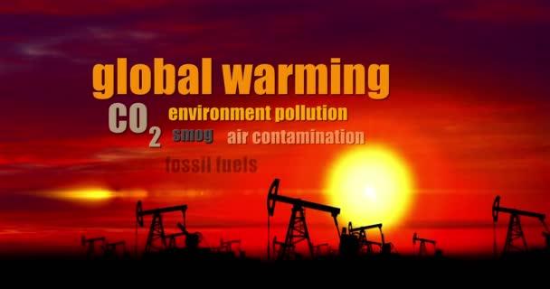 Koncept módní slova ekologie. Olejová čerpadla siluety měnící se turbína větrný mlýn. Klíčová slova globální oteplování, klimatické změny a fosilní paliva nahradit zelené energie, recyklace a ochrany životního prostředí