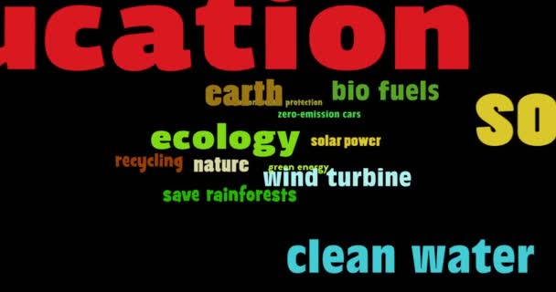 Ecology concept with eco keywords in seamless animation. Buzzwords of environmental protection, nature and green energy flying back on black background.