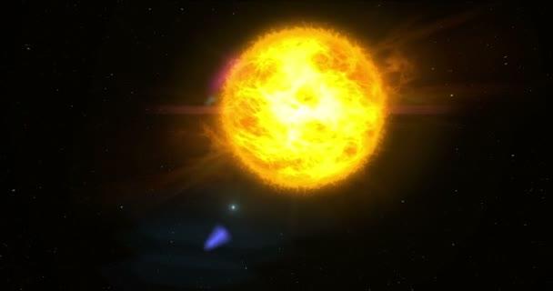 Východ slunce v daleké sluneční soustavy. Slunce nad exoplanety podobné zemi s měsíce na oběžné dráze a hvězdy v pozadí. Koncepce animace prostoru, věda, astronomie a technologie