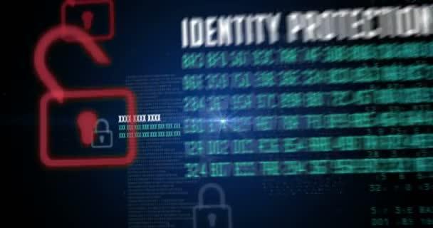 Kybernetická bezpečnost v Internetu. Koncept plynulé animace bezpečnosti v síti. Ochrana identity, osobní bezpečnost, bezpečnostní heslo, soukromý profil, online bankovní účet a soukromí na sociální média