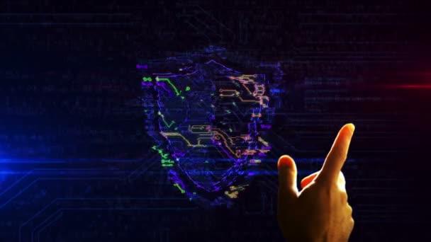 Cyber biztonság pajzs szimbólum futurisztikus 3D renderelés animáció. A kéz ujja érintse meg a képernyőt és lépjen be a kibertérbe. A számítógépes védelem és az internetes biztonság elvont fogalma.