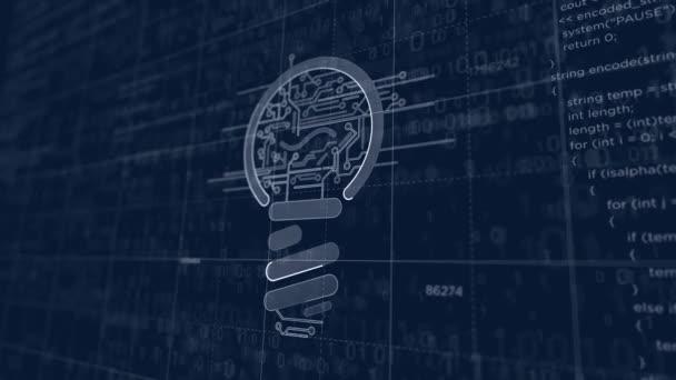 neues Konzept mit Lampensymbol-Projekt erstellen. abstraktes Konzept von Innovation, Cyber-Technologie Inspiration, Erfolg, Erfindung und Business-3D-Animation. Zeichnung digitales Schema der futuristischen Idee.
