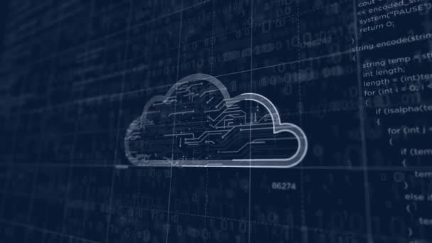 Erstellung von Cyber-Cloud-Symbolen. Abstraktes Konzept der Datenspeicherung, Datenbank, Computing, Server, Archive und Dokumente Sicherheit 3D-Animation. Zeichnung digitaler Schema Linie der futuristischen Idee.