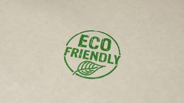 Környezetbarát pecsét és kézlenyomat impakt animáció. Ökológia, organikus, természetes, életmód és egészséges táplálkozás 3d kiolvasztott fogalom.
