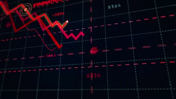 Rezessionstext an den Aktienmärkten nach unten Diagramm. Konzept von Krise, finanzieller Stagnation, weltweitem Geschäftsrückgang, Crash und wirtschaftlichem Zusammenbruch. Abwärtstrend 3D Animation.