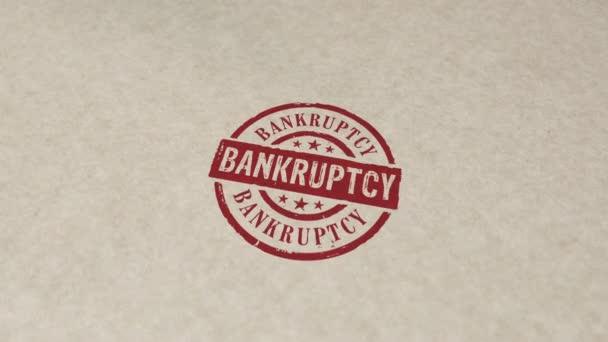 Konkursstempel und Handstempel beeinflussen die Animation. Business Crash, Schulden, Finanzen, Bankrott, Wirtschaft, Rezession und Finanzproblem 3D gerendertes Konzept.