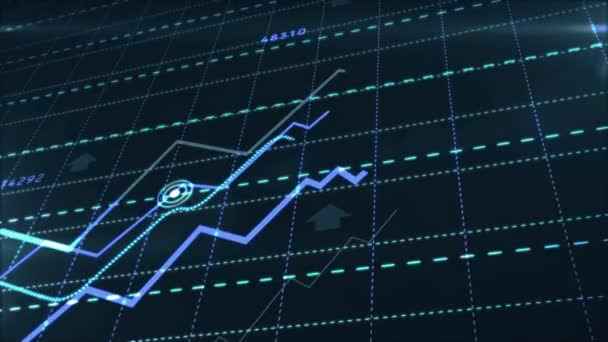 Growth up stock markets blue chart 3d loop animation. Success, rising business and financial graph, economy data diagram and money investment analysis loopable and seamless abstract concept.