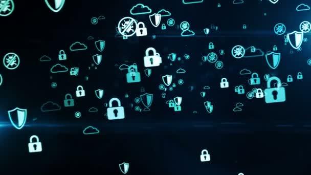 Cyber védelem, számítógépes védelem és digitális biztonsági kiberszimbólumok zökkenőmentes hurkolható 3D-s alagút animáció. A jövő technológiájának és üzleti tevékenységének elvont digitális háttere.