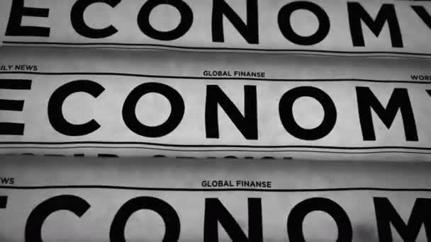 Ekonomické obchodní noviny se světovou krizí denního tisku novin. Vintage paper media press production abstract concept. Retro styl 3D vykreslování černobílá animace.