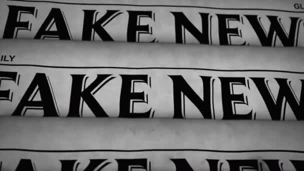 Falešné novinky retro styl 3d vykreslování černobílé animace. Tisk novin z falešných médií. Vintage paper media press production abstract concept.