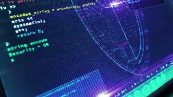 Cyber biztonsági üzenet pajzs szimbólummal a futurisztikus számítógép képernyőjén, hibahatással. Rendszerbiztonság, adatvédelem, digitális és identitásbiztonsági koncepció 3D animáció.