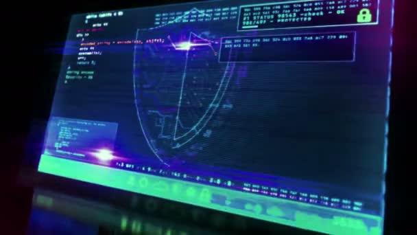 Cyber biztonsági üzenet pajzs szimbólummal a futurisztikus számítógép képernyőjén, hibahatással. Rendszerbiztonság, adatvédelem, digitális és identitásbiztonsági koncepció 3d hurkolható és zökkenőmentes animáció.