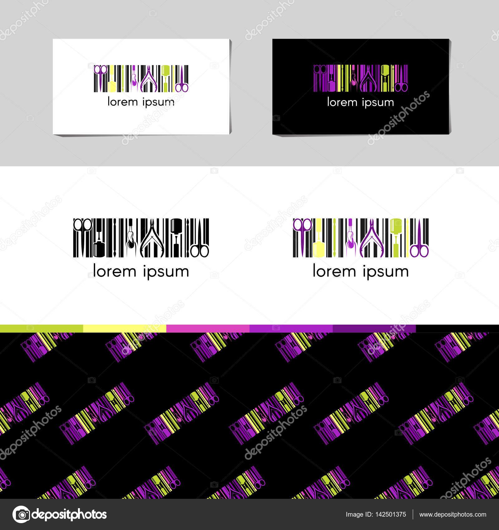 vektor logo fr nagel design firma mit namen visitenkarte und corporate muster im - Muster Fur Nagel