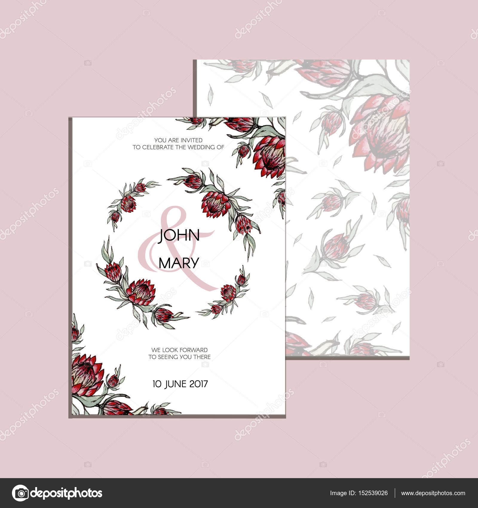 Vector invitation with handmade floral elements and flowers of