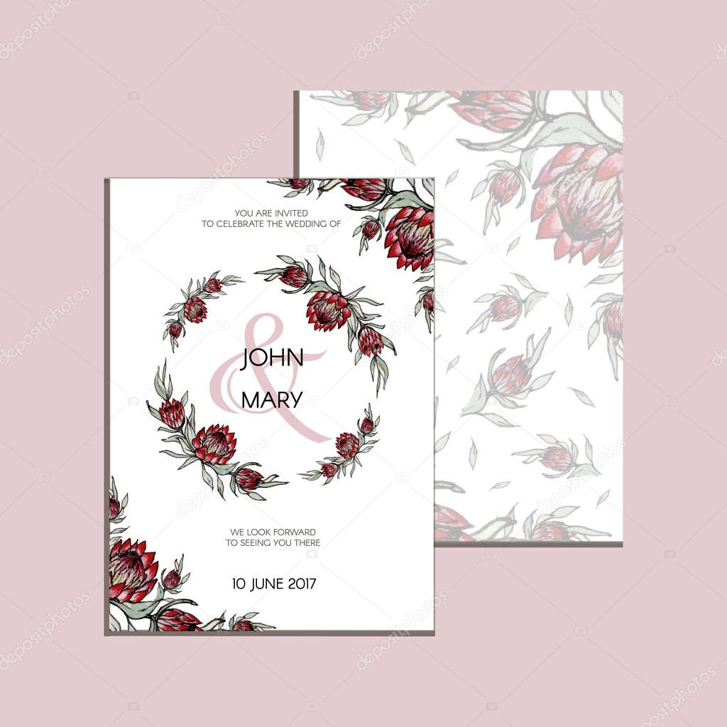 Vector invitation with handmade floral elements and flowers of protea. Modern Wedding collection. Thank you card, save the date cards, menu, flyer, banner template.