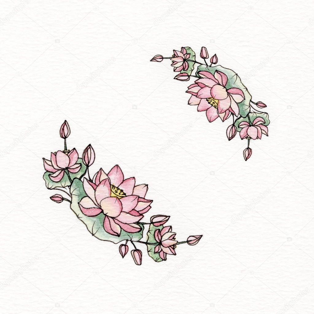 Graphic wreath with flowers of lotus