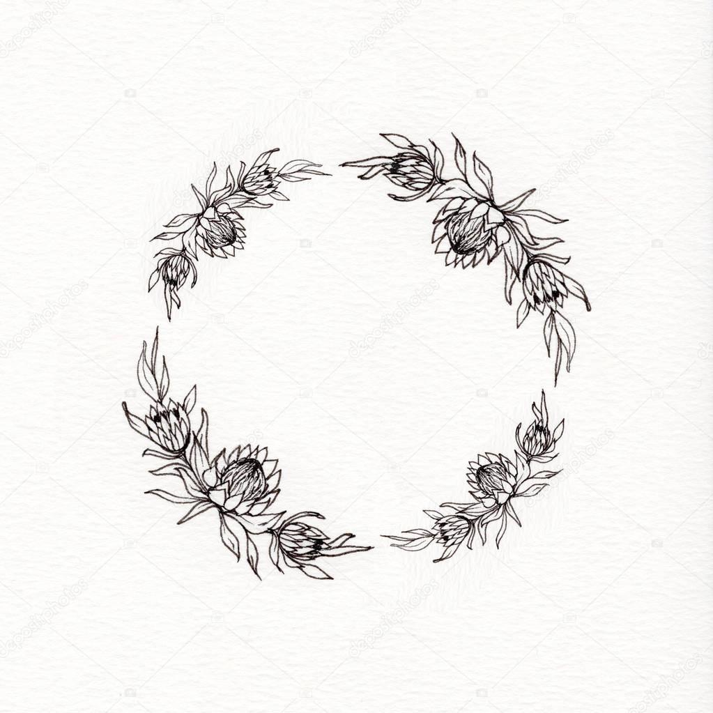 Protea flower wreath