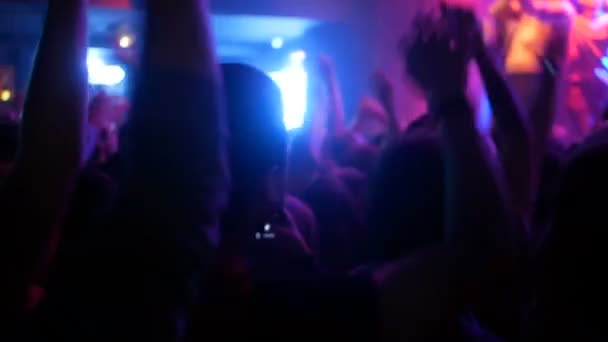 Concert hands crowd people jumping dance