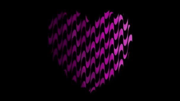 Folyékony szív alakú animáció lila hullámos mintával a fekete háttéren. 4k Valentin nap hurkolt animáció. Használható hátterek, szerelmi történet, bannerek, weboldalak, a szociális média, szereti