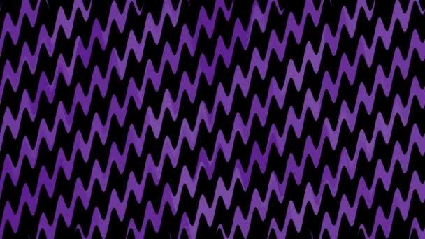 Trendige Animation mit wellenförmigen lila Diagonallinien auf schwarzem Hintergrund. 4k Animation. Verwendbar für Hintergründe, Hintergrundbilder, Banner, Präsentation, Webseiten, Landing Page