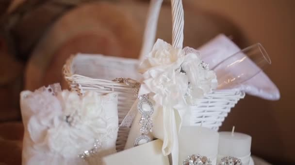 wedding background. bride basket whit accessories