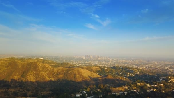 Downtown Los Angeles. Aerial footage downtown Los Angeles during sunset - sunrise with clear skies