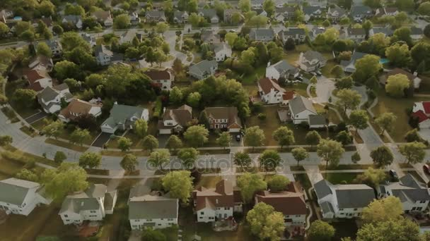 Aerial view of a suburban neighborhood. move drone